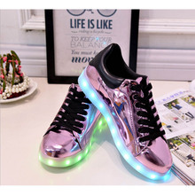 2017 new Kid USB Charging LED Lighted Casual pu leather Boys Girls Luminous Children Shoes baby sneakers A30(China)
