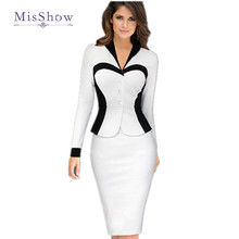 MisShow Women Elegant autumn dress Career Contrast faux Twinset Wear to Work Casual Fitted Sheath bodycon Office Dress(China)