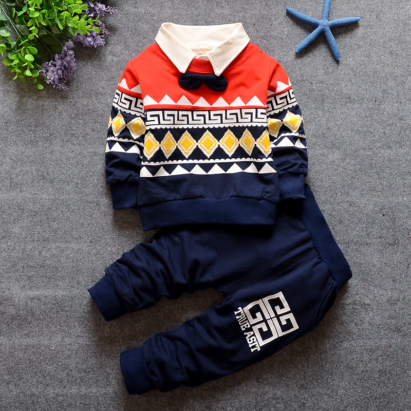 Fall 2017 New Childrens Wear Suit Baby Cotton Long Sleeve Coat + Trousers Pure Color Fleece Children 1 To 4 Old Year<br><br>Aliexpress