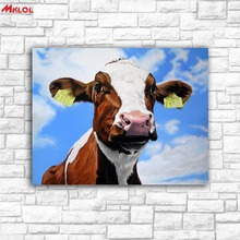 Large Wall Art Blue Sky And Cattle Canvas Painting For Living Room Home Decoration Oil Painting On Canvas Wall Painting Unframed