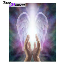 Ever Moment 5D Diy Diamond Painting Religious Beautiful Praying Hands Guardian Angel Wings Embroidery Cross Stich Set ASF882(China)