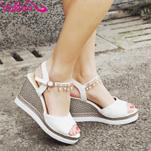 VALLKIN 2017 Women Pumps Buckle Strap Peep Toe All Match Summer Shoes  Platform High Heel Ladies Slingback Shoes Size 34-43