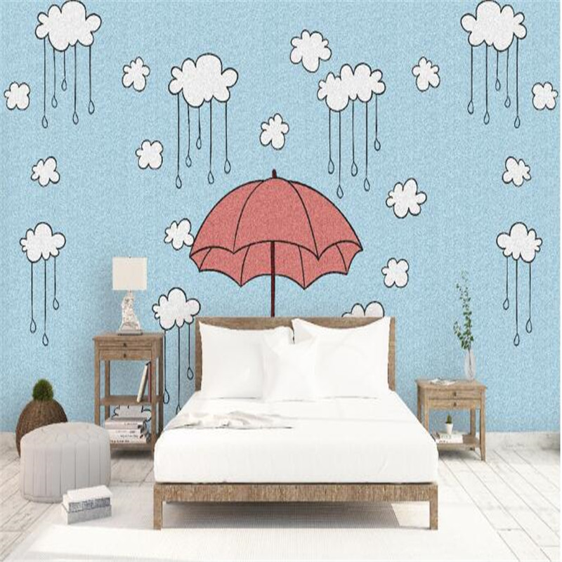 Hand Painted Wallpapers Blue Mural Wallpaper for Kids Room Custom Wall Papers Cute Red Umbrella Photo Wallpapers for Living Room<br>