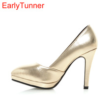 Sales Brand New Sexy Sales Women Platform Nude Pumps Gold Silver Ladies Glossy Formal Shoes EH23 Spike Heels Plus Big Size 43 10(China)