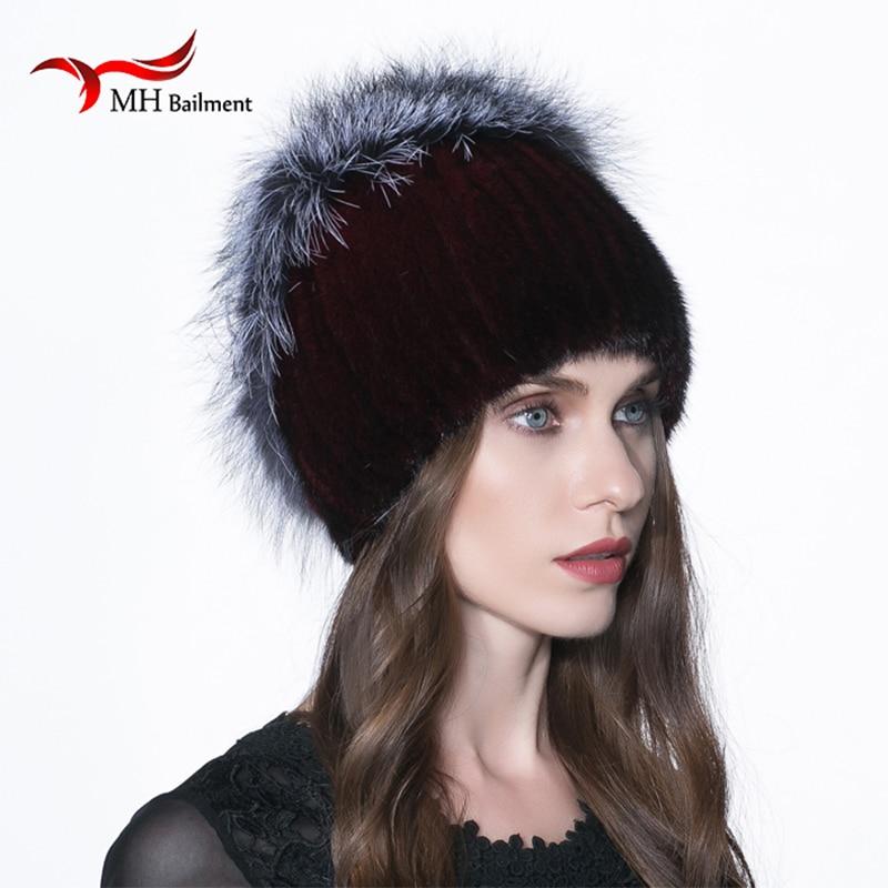 2017 Real Mink Fur Knited Hat with Fox Fur Winter Warm Women Mink Fur Knit Hats Lady Eaves Cap Thicken the Russia Beanies H#11Îäåæäà è àêñåññóàðû<br><br>