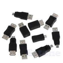 10PCS 5 pin F/M mini Changer Converter Adapter USB Male to Female Micro USB(China)