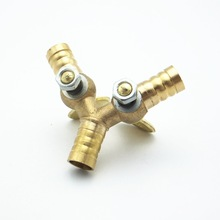 10mm Hose Barb Y Type Brass Barbed Tube Pipe Fitting Coupler Connector Adapter With Valve For Fuel Gas Water
