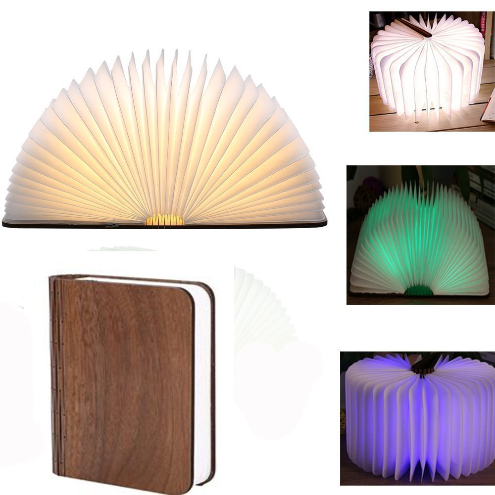 Rechargeable Bedside Lamp, Equantu Book-Shaped Folding LED Night Light, RGBW Color LED Table Lamp<br>