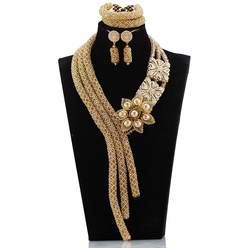 Wonderful Champagne Gold Dubai Wedding African Beads Jewelry Sets Indian Crystal Bridal Jewelry Set Hot Free Shipping ABH604