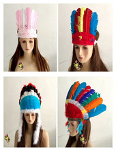 Fascinator Indian headdress feathers hat feather native American Indian cap chief cap stage props(China)