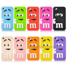 Popular New arrival 3D Cartoon M&M Chocolate Candy model silicon material Cover Case for iphone 4 4s 4s PT1358