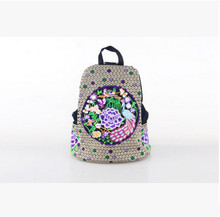 2017 New Vintage Embroidery Women Backpack!Hot Fashion Embroidery Lady Shopping Backpack comfortable All-match Canvas backpack