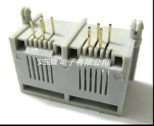 50pcs/lot New 6P4C 4 Pin Dual RJ11 Telephone Modular Network Jack 2 Ports LAN PCB Connector90 Degree Gray All Plsatics