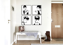 Black White Audrey Hepburn Poster Prints Movie Star Picture Canvas Paintings No Frame Big Wall Art Modern Nordic Home Deco Gifts