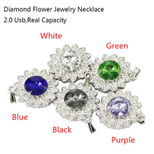 Colorful Diamond Flower USB Flash Drive 64GB 32GB 16GB 8GB Crystal Necklace Pen Drive Flash Pendrives Memory USB 2.0 Stick(China)
