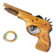 BOHS Wooden Rubber Band Launcher Hand Pistol Gun Shooting Toy Gifts(China)