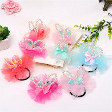 Fashion Bow Pearl Headband Rabbit Ears BB Hair Clip Ribbon Hairpin Sweet Lace Rubber Band Duck Barrettes Hair Accessories 2Pcs(China)