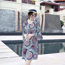 2018 New Make Summer Dress Bohemia 7 Minutes Flare Sleeve O-ncek Knee-length Dresses Like Fabrics Digital Printing Large Yards(China)