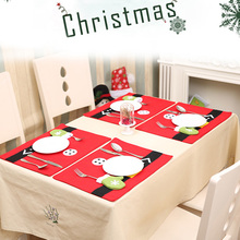 Woven Fabrics Christmas Dining Table Mat Placemat Tableware Holder Mats Xmas Christmas Supplies Decoration