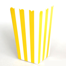 High Quality 6pcs Stripe Stiff Paper Party Popcorn Boxes Pop Corn Candy/Sanck Favor Bags Wedding Birthday Movie Party Tableware(China)