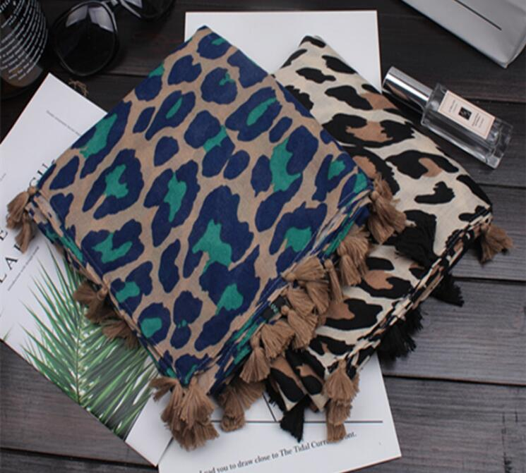 Newest Women Leopard Pattern Quality Cotton Tassel Scarf Shawls 2Colors 10pcs/lot