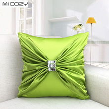 Handmade Silk Embroidery Cushion Cover Wedding Decoration Diamante Pillow Case ,45x45cm