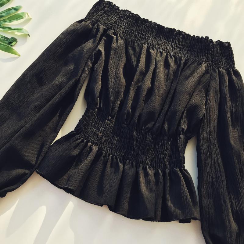 2019 spring new women pure color slash neck elasticity waist lantern sleeve blouses shirt female elegant sweet slim shirts tops 12 Online shopping Bangladesh