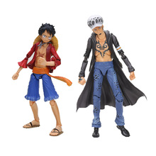 2pcs/lot Japanese  One Piece Anime Monkey D Luffy vs Trafalgar D Water Law PVC Action Figure Model Collection Toy