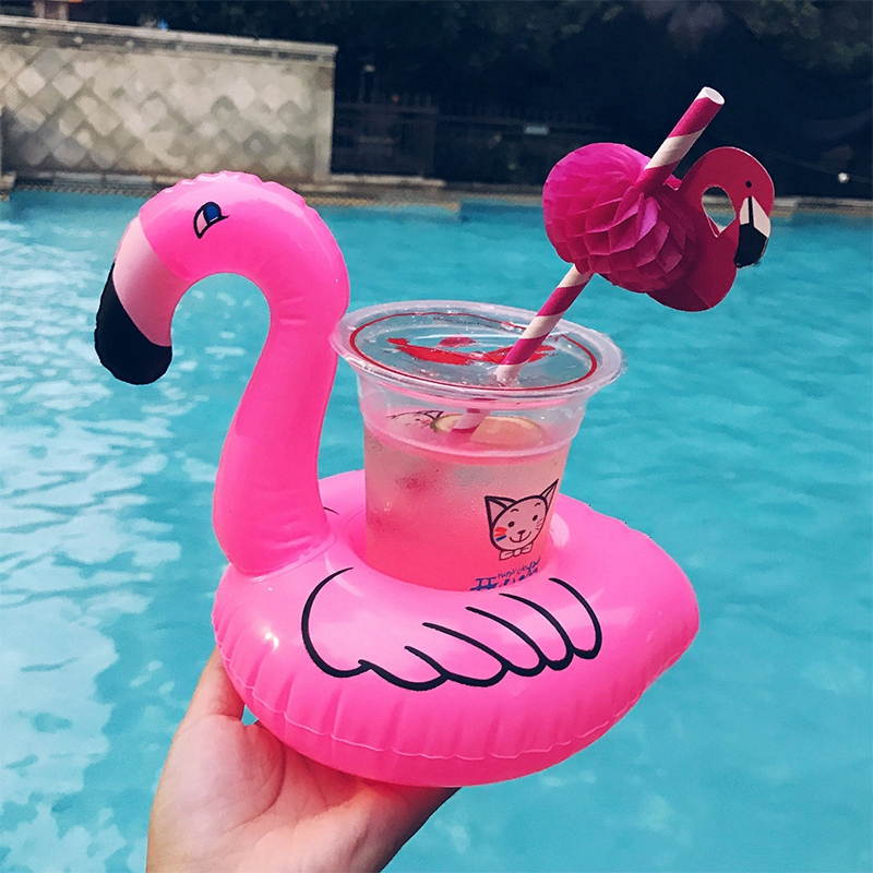 Cute Pink Flamingo Drink Holder PVC Inflatable Floating Swimming Pool Beach Party Kids Swim Beverage Holders (7)
