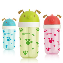1pc Eco-friendly PP Kid Dog Design baby cartoon water bottle children Straw Bottle Children kettle sports bottle