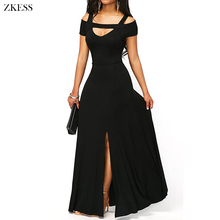 ZKESS Women New Cold Shoulder Front Slit Flare Maxi Dress Sexy V Neck Empire Waistline Party Long Dresses LC61752(China)