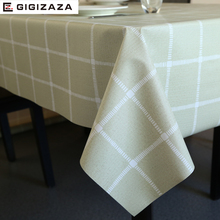 PVC table cloth waterproof waterproof and dustproof tablecloth European style beige geometric Plaid printed tablecloth wholesale