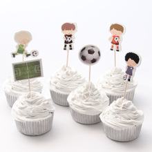 48pcs/lot Football Boy Cupcake Topper Theme Cartoon Party Supplies Kids Boy Birthday Party Decorations(China)