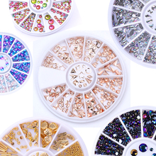 31 Patterns Optional Shinning Nail Rhinestones Sharp Flat Back Studs 3D Nail Decor Manicure Nail Art Decoration in Wheel