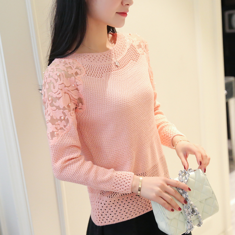 Hollow knit female long sleeved lace beading colla...