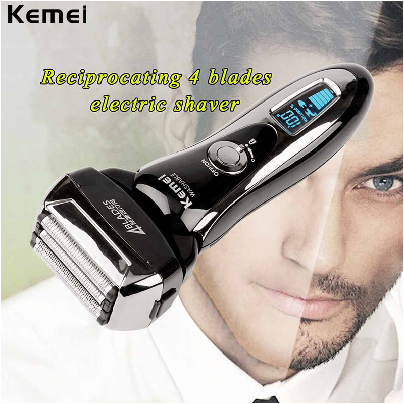 100-240V LCD Rechargeable Electric Shaver 4D Floating Blade Heads Waterproof Reciprocating Shaving Razors Men Beard Trimmer 3233<br>