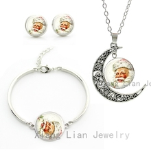 Vintage style Santa Claus photo moon pendant necklace earrings bracelet jewelry sets classic Christmas gifts for women kids CM44