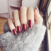 24PCS/set False Nails Vampire Wine Red Fake Nails Oval Short Gold Glitter Design Faux Ongles 24 Style Optional Full Nail tips(China)