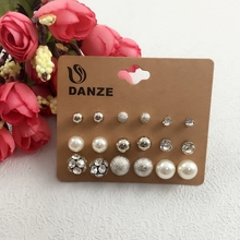 Danze 9 Pairs/lot Fashion Simulated Pearl Crystal Stud Earrings Set For Women Elegant Small Ball Earing Jewelry Boucle d'oreille