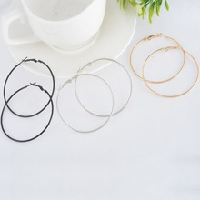LASPERAL 1Pair Classic Chic Punk Large Round Thin Hoop Earrings Fashion Jewelry For Women Fashion Style 6.3x5.9cm Multicolor