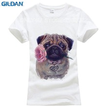 2017 Vintage Fashion Flower Pug girl Shirt Women T Shirt Tops For Women Camiseta Top Retro Pug Printed T-shirt(China)
