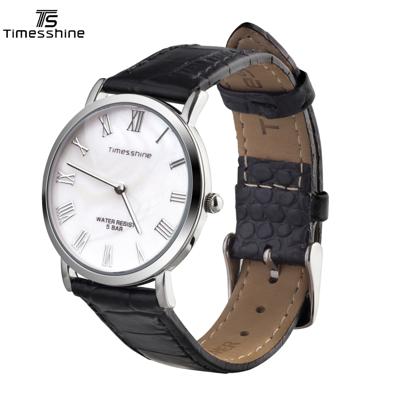Timesshine Luxury Brand Mens Watch 50M Waterproof Genuine Leather Strap Shell Dial Quartz Watches For Male Bussiness Watch FW01 <br>