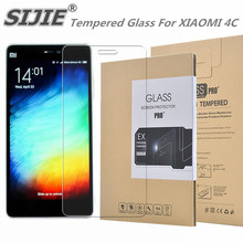 SIJIE Tempered Glass For XIAOMI 4C 0.26mm MI4C MI 4C Screen Protector front stronger 9H discount with Retail Package Hard BOX