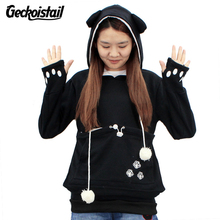 Geckoistail New Cat Hoodie Sweatshirts With Cuddle Pouch Dog Pet Hoodies For Casual Pullovers With Ears 4XL Plus Size