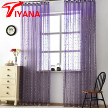 Cherry Tree Korean Pastoral Embroidery Window Screens Luxury Turkish Embossed Room Curtain Sheer Tulle Purple White Blue P120Z40(China)