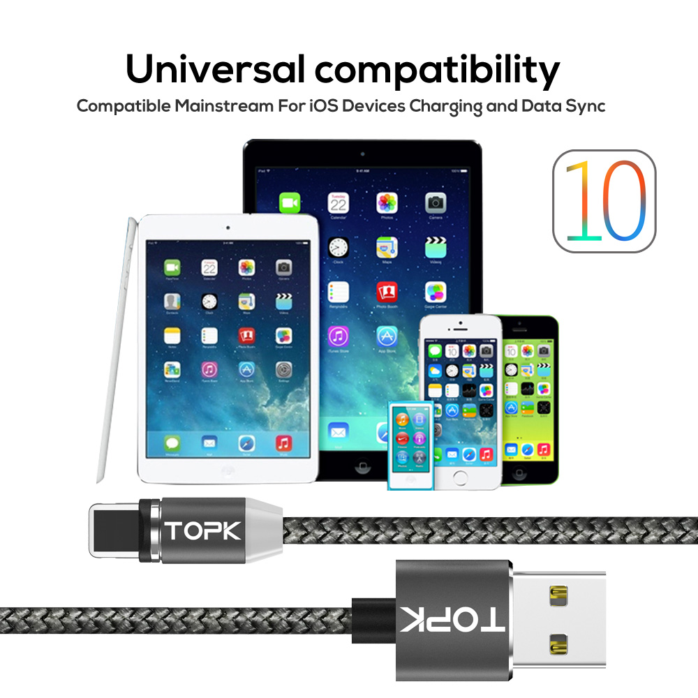 TOPK LED Magnetic Upgraded Fast Charging Reflective Nylon Braided USB Cable for iPhone 7 6 6s Plus 5 5s SE iPad Air