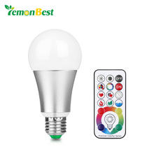 LemonBest 10W RGB W E27 LED Bulb Stage Lamp 220V Aluminum Light 120 Colors Remote Control Memory Function AC 85-265V(China)
