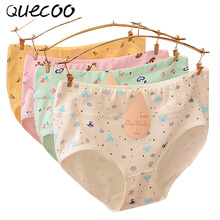 Buy QUECOO M-XXXL Cotton combed cotton panties waist comfortable cartoon triangle underwear women's underwear