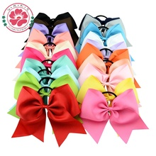 20pcs/lot 8 Inch Large Cheer Bow With Elastic Hair Band Cheerleading Boutique Ribbon Hair Bow Ponytail Hair Holder For Girls 598(China)