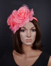 NEW 4 colours Coral pink flowers fascinator sinamay base formal hat kentucky derby hat wedding hat.FREE SHIPPING.